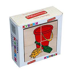 Детские деревянные кубики Игрушки, Komarovtoys (Т 608) (укр)