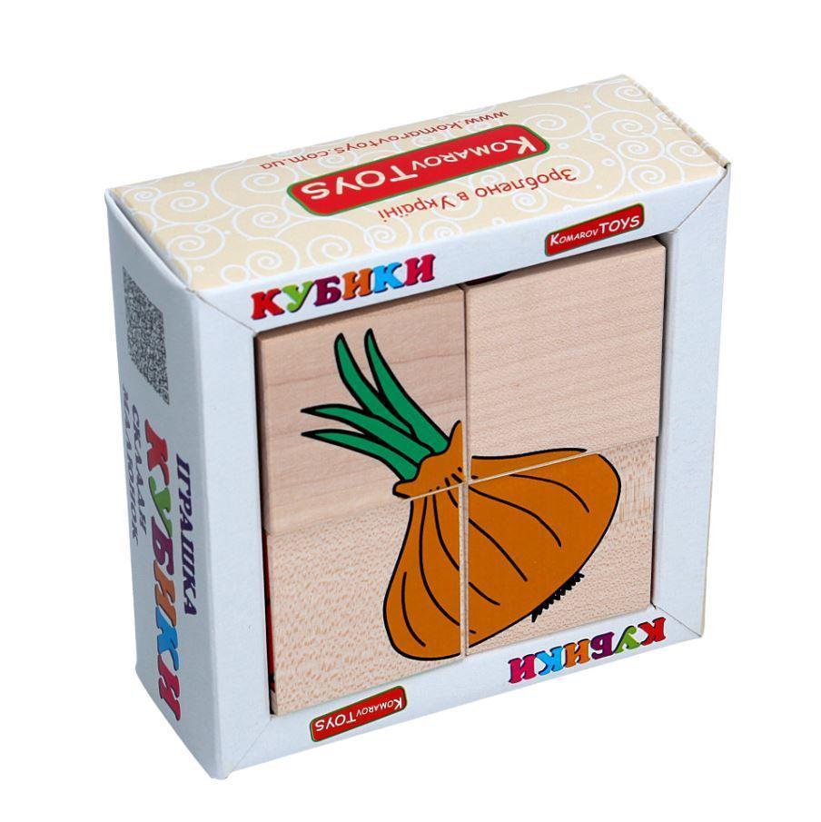 Детские деревянные кубики Овощи, Komarovtoys (Т 607) (укр)