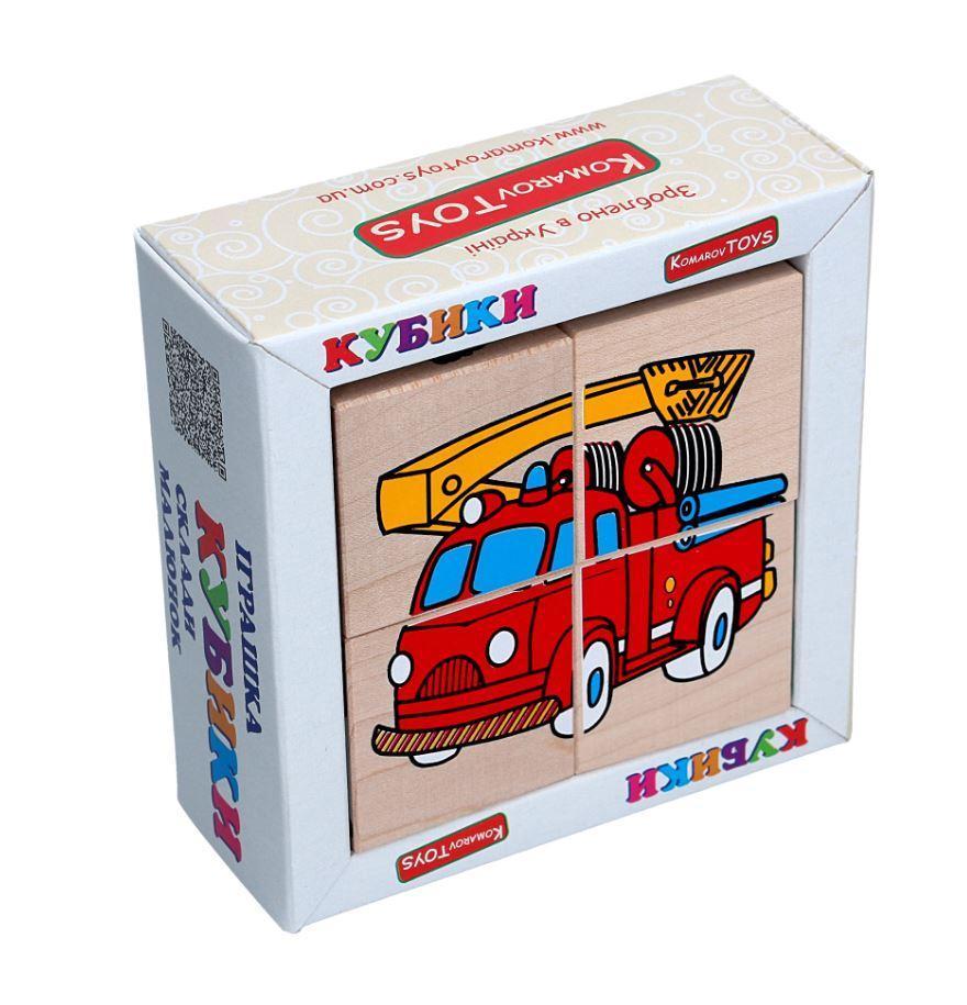 Детские деревянные кубики Транспорт, Komarovtoys (Т 610) (укр)