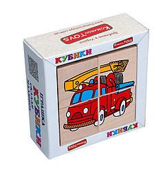 Дитячі дерев'яні кубики Транспорт, Komarovtoys (Т 610)