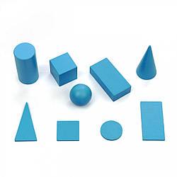 Набор деревянных геометрических тел и фигур 9 шт сечение 40 мм, Komarovtoys (А 371)