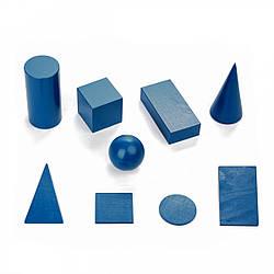 Набор деревянных геометрических тел и фигур 9 шт сечение 60 мм, Komarovtoys (А 342)