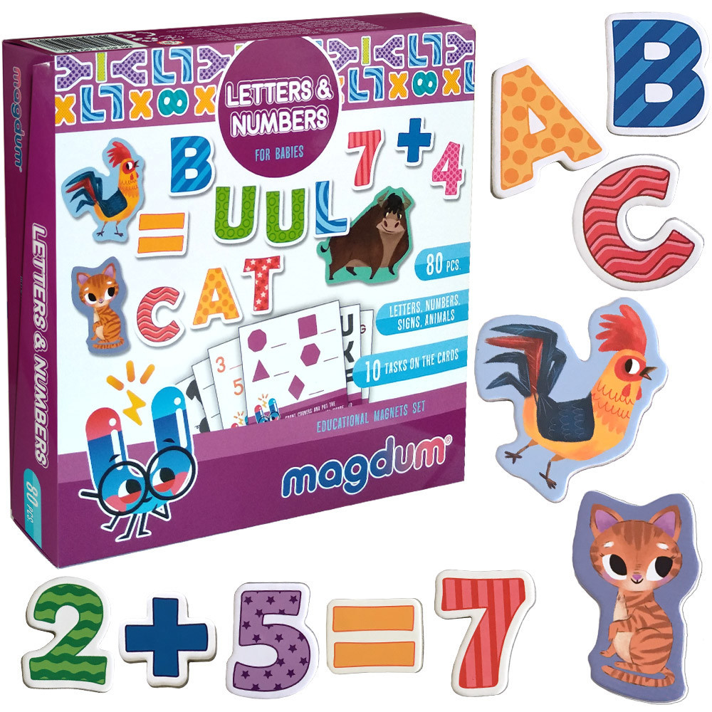 Набор детских магнитов Английский алфавит и цифры, Magdum (ML4031-09 EN)