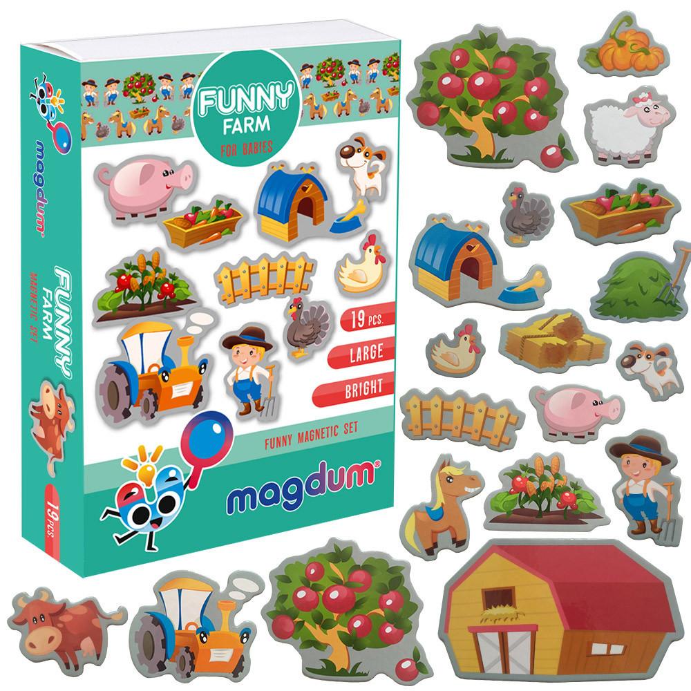 Набор детских магнитов Веселая Ферма, Magdum (ML4031-10 EN)