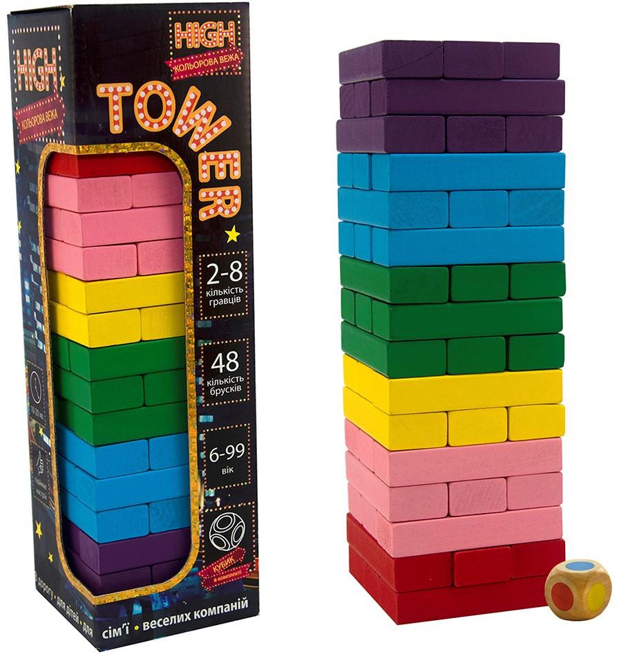 Настільна гра кольорова Дженга з кубиком (укр), Strateg (30715)