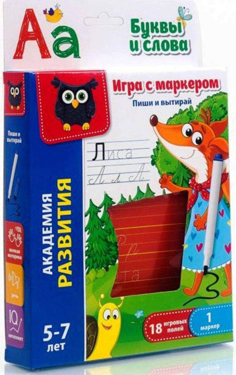 Игра с маркером Пиши и вытирай Буквы и слова (рус), Vladi Toys (VT5010-03)