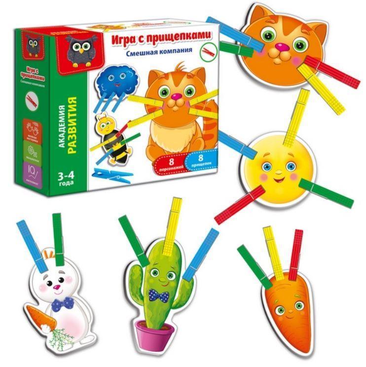 Игра с прищепками Смешная компания (рус), Vladi Toys (VT5303-06)