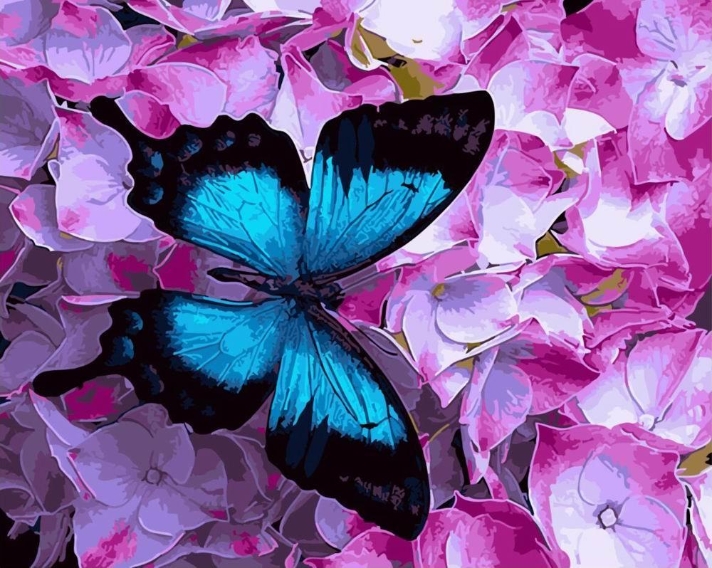 Картина по номерам Бабочка на цветах (40 х 50 см, без коробки)
