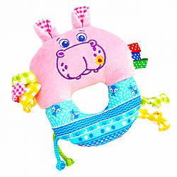 Слюновпитывающая игрушка-погремушка Бегемот, Macik (МС 010203-01)