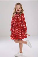 Красивое платье красное ТМ Suzie в горохи на девочку р.116-140