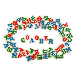 Украинская деревянная магнитная азбука 72 деревянные буквы на магнитах, Komarovtoys (J 704)