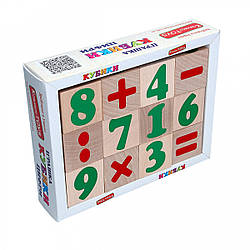 Цифри знаки Дерев'яні кубики, Komarovtoys (Т 604)