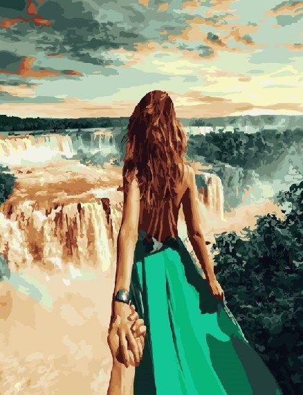 Картина по номерам Следуй за мной. Ниагарский водопад (40 х 50 см, без коробки)