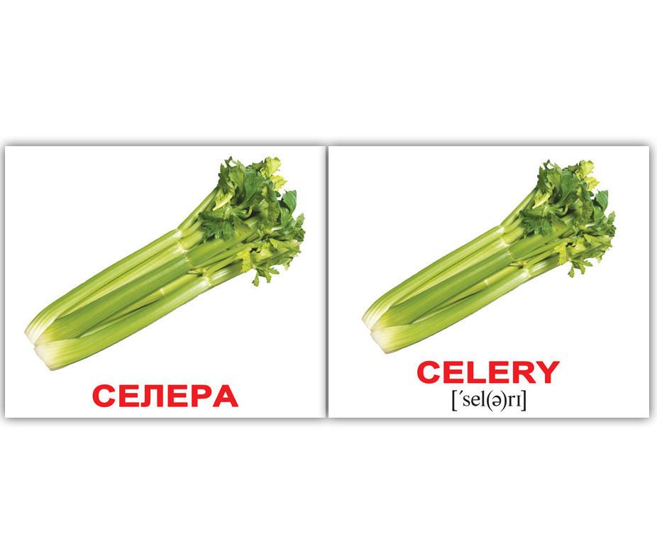 Картки Домана Овочі Vegetables англо-українські картки Домана, Вундеркинд с пеленок (КД-95788)