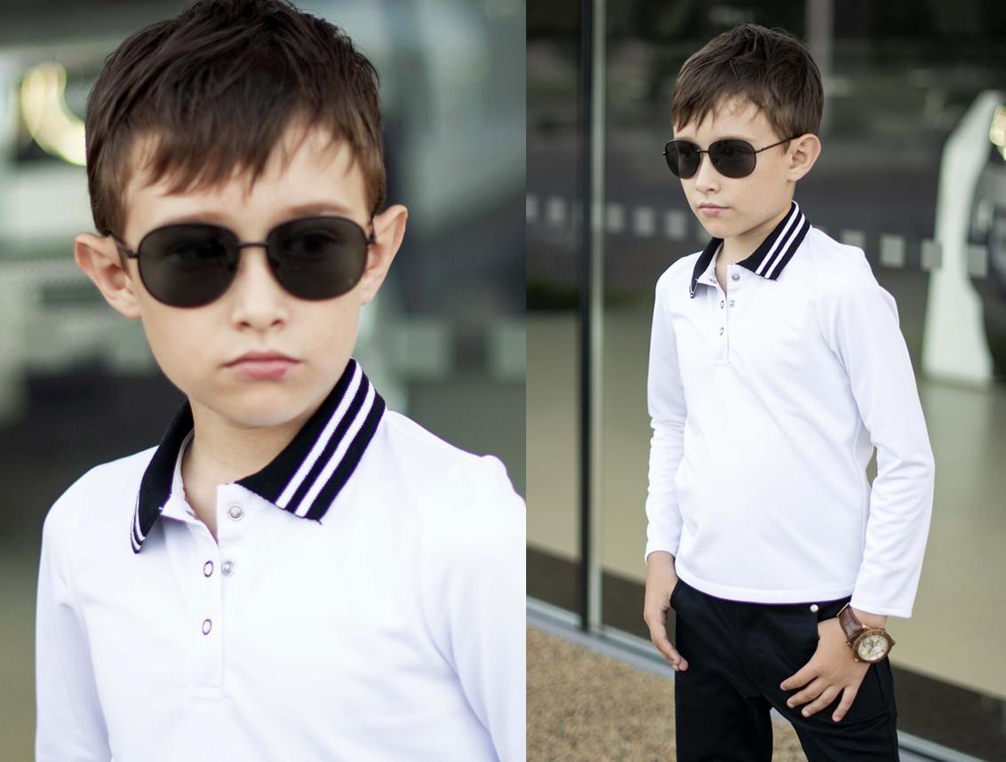 """Детская стильная рубашка для мальчиков 2065 """"Лакоста Поло Кнопки"""" в школьных расцветках"""