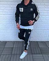 Мужской спортивный костюм в стиле Adidas 03 черный