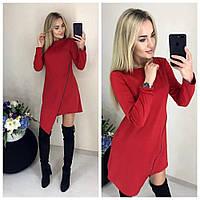 Стильное спортивное платье асимметричное красное 48