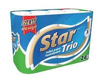 Star Trio туалетная бумага 3-хслойная 24шт (90 отрывов)