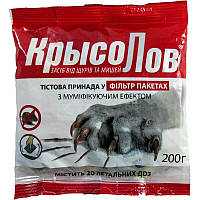 Средства борьбы с мышами и крысами Родентицид КрысоЛовка тесто 200 г, Агромаг, Отрава от грызунов