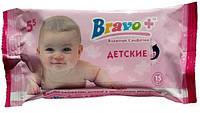 Bravo влажные салфетки 15 шт Детские Ромашка (160)