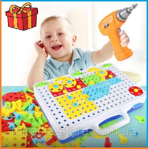 Мозаика конструктор с шуруповертом 106 деталей детский набор инструментов с мозаикой