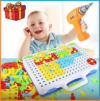 Детский конструктор болтовая мозаика с шуруповертом (106 деталей)