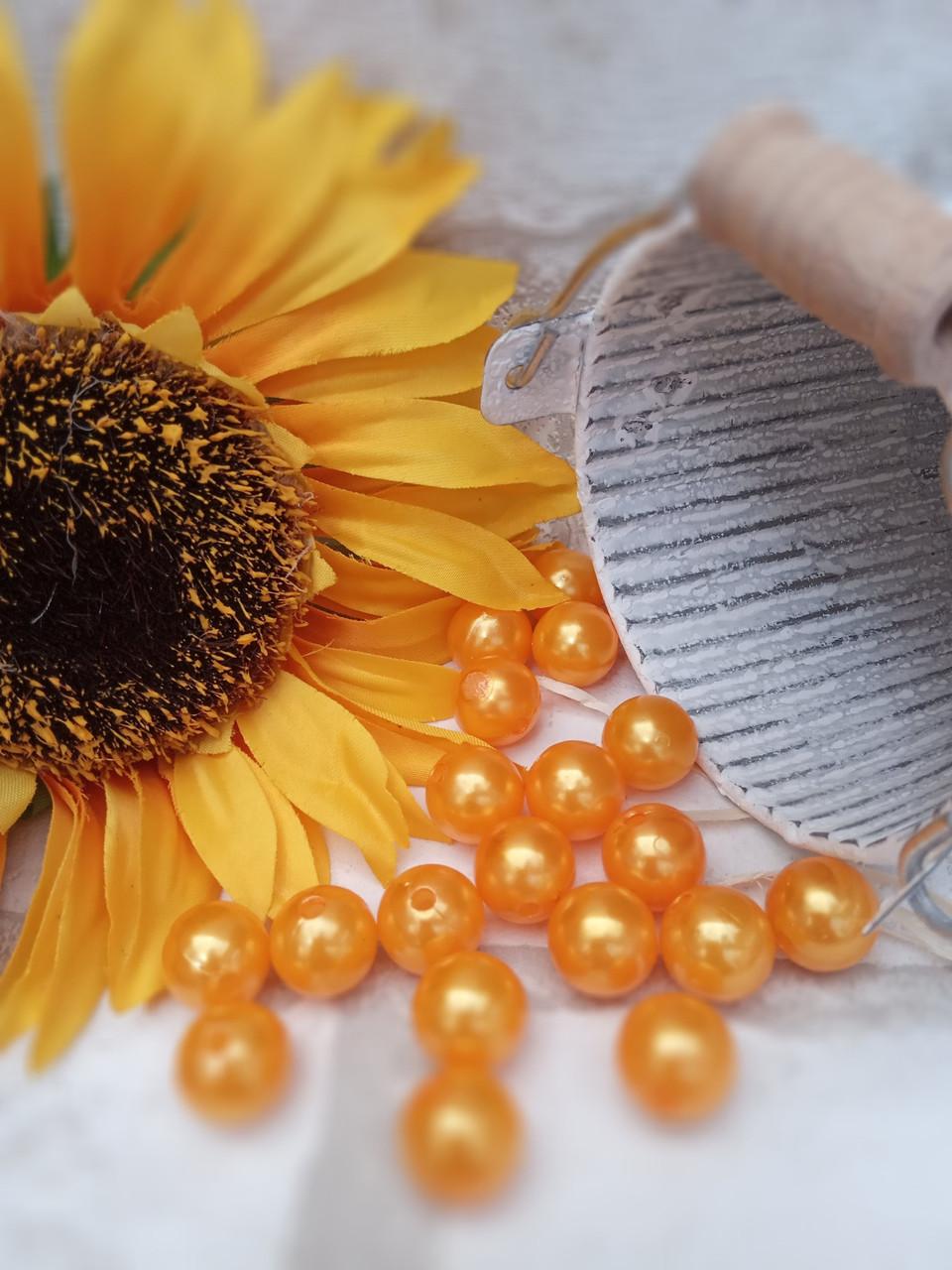 Намистинки з пластику помаранчеві, кольорові 1,3 см, 20 шт/уп, 12