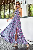 Длинное летнее штапельное платье в пол с открытой спиной (Паулина mm), фото 2