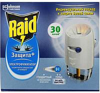 Электрофумигатор от комаров Raid с регулятором в комплекте с жидкость Защита + на 30 ночей