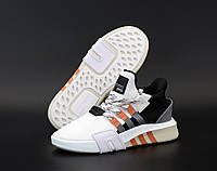 """Кроссовки мужские Adidas EQT """"Белые с оранжевыми полосками"""" высокие адидас р. 41-45"""