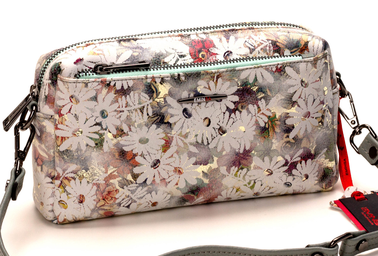 Жіноча сумка шкіряна крос-боді Eminsa 40125-1 білі квіти