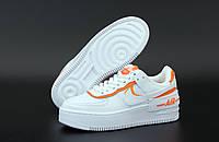 """Кроссовки женские кожаные  Nike Air Force """"Белые с оранжевым"""" найк аир форс р. 36-39, фото 1"""