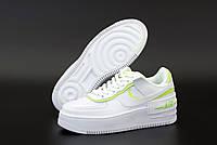 """Кроссовки женские кожаные  Nike Air Force """"Белые с салатовым"""" найк аир форс р. 36-38, фото 1"""