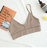 Комплект жіночої нижньої білизни. Набір бавовняний з ліфа і трусиків, розмір L (кавовий), фото 3