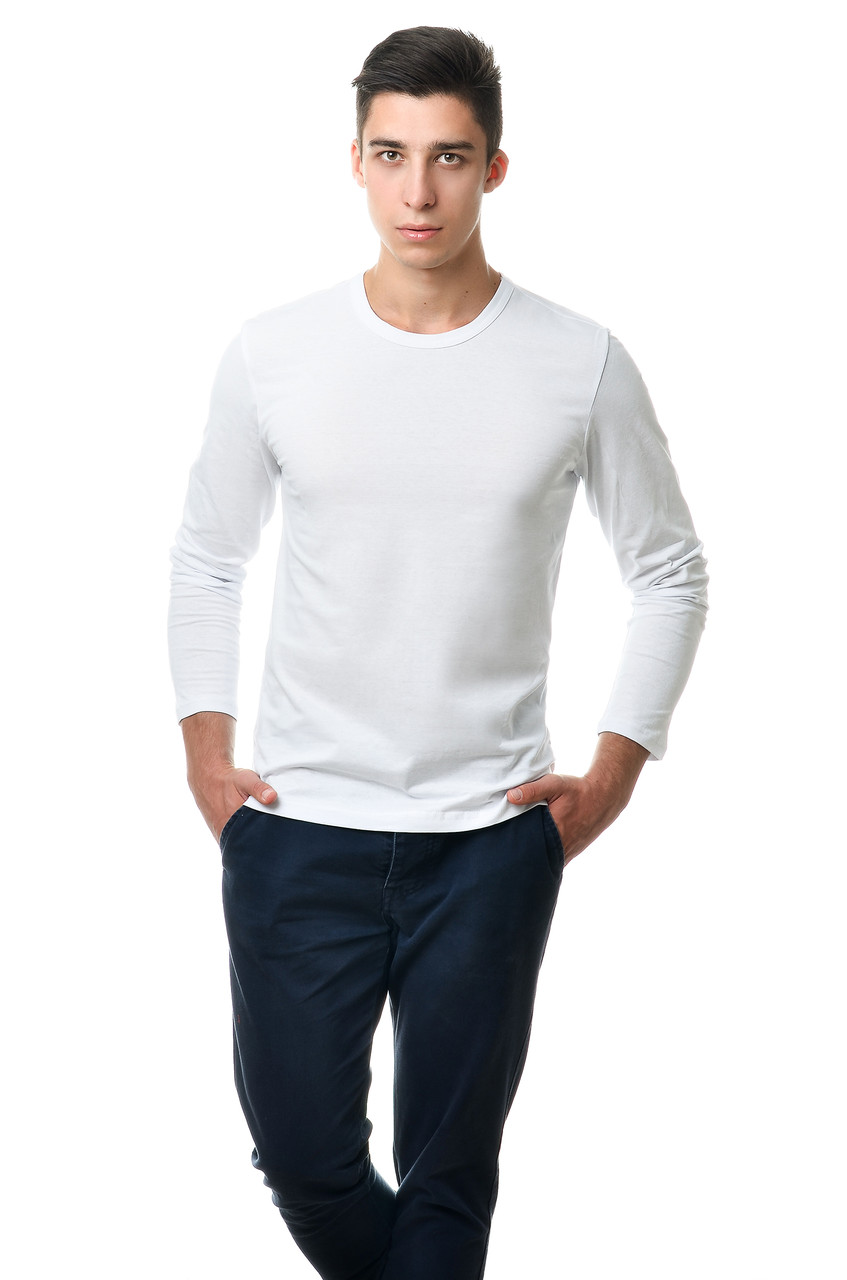 Чоловічий однотонний реглан простого крою по фігурі з довгим рукавом, білий