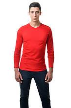 Мужской однотонный реглан простого кроя по фигуре с длинным рукавом, красный