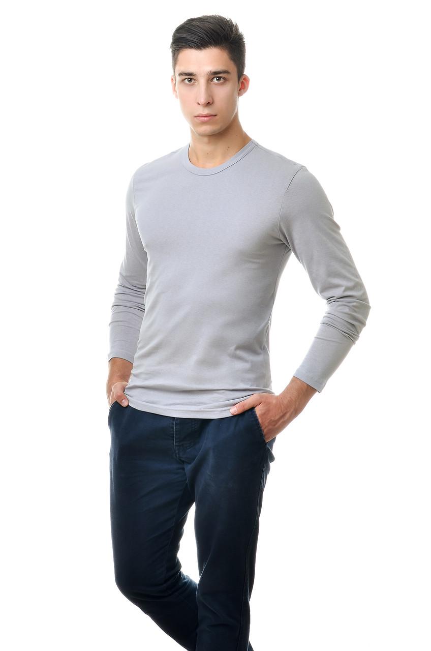 Мужской однотонный реглан простого кроя по фигуре с длинным рукавом, серый