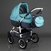 Детская коляска 2 в 1 универсальная комбинированная, детская коляска-трансформер Saturn голубой  ОПТ