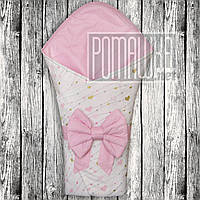 Летний конверт одеяло плед 80х80 на лето детский на выписку новорожденных из роддома тонкий 6046 Розовый Б