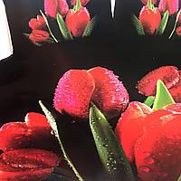 """""""Тюльпаны"""" Евро размер постельное белье 3D ELWAY (Польша), 200/220 см, 4 наволочки, ткань сатин (100% хлопок)."""