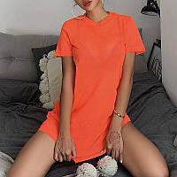Яскрава пляжна туніка подовженою футболкою в неонових кольорах