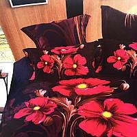 """""""Цветы"""" Евро размер постельное белье 3D ELWAY (Польша), 200/220 см, 4 наволочки, ткань сатин (100% хлопок)."""