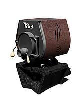 Отопительная конвекционная печь Rud Pyrotron Кантри 00 с варочной поверхностью (отапливаемая площадь 40 кв.м. Обшивка декоративная (коричневая)