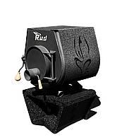Отопительная конвекционная печь Rud Pyrotron Кантри 00 с варочной поверхностью (отапливаемая площадь 40 кв.м. Обшивка декоративная (черная)