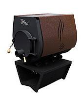 Отопительная печь Rud Pyrotron Кантри 02 с варочной поверхностью (отапливаемая площадь 120 кв.м. х 2,5 м) Обшивка декоративная (коричневая)
