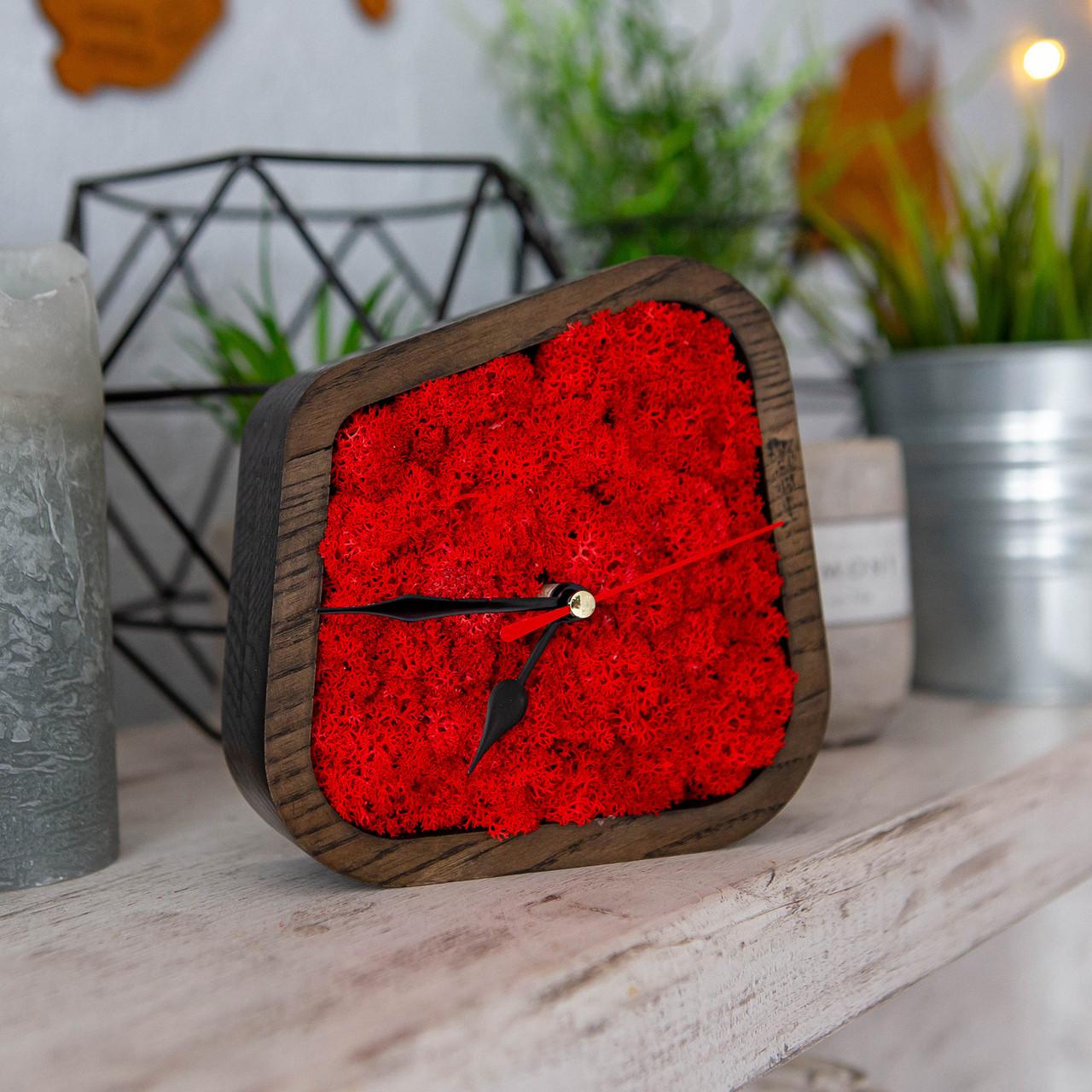 Часы деревяные настольные с мхом (15*15*4 см)