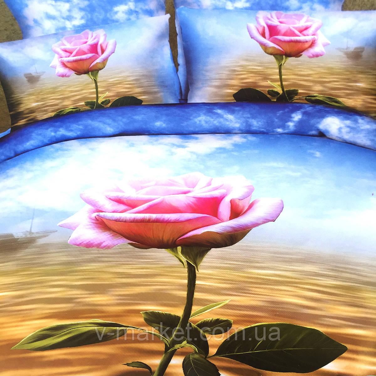 """""""Роза"""" Евро размер постельное белье 3D ELWAY (Польша), 200/220 см, 4 наволочки, ткань сатин (100% хлопок)."""