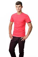 Хлопковая футболка мужская приталенная однотонная красная коралловая