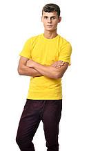 Однотонная натуральная мужская футболка Украина желтая