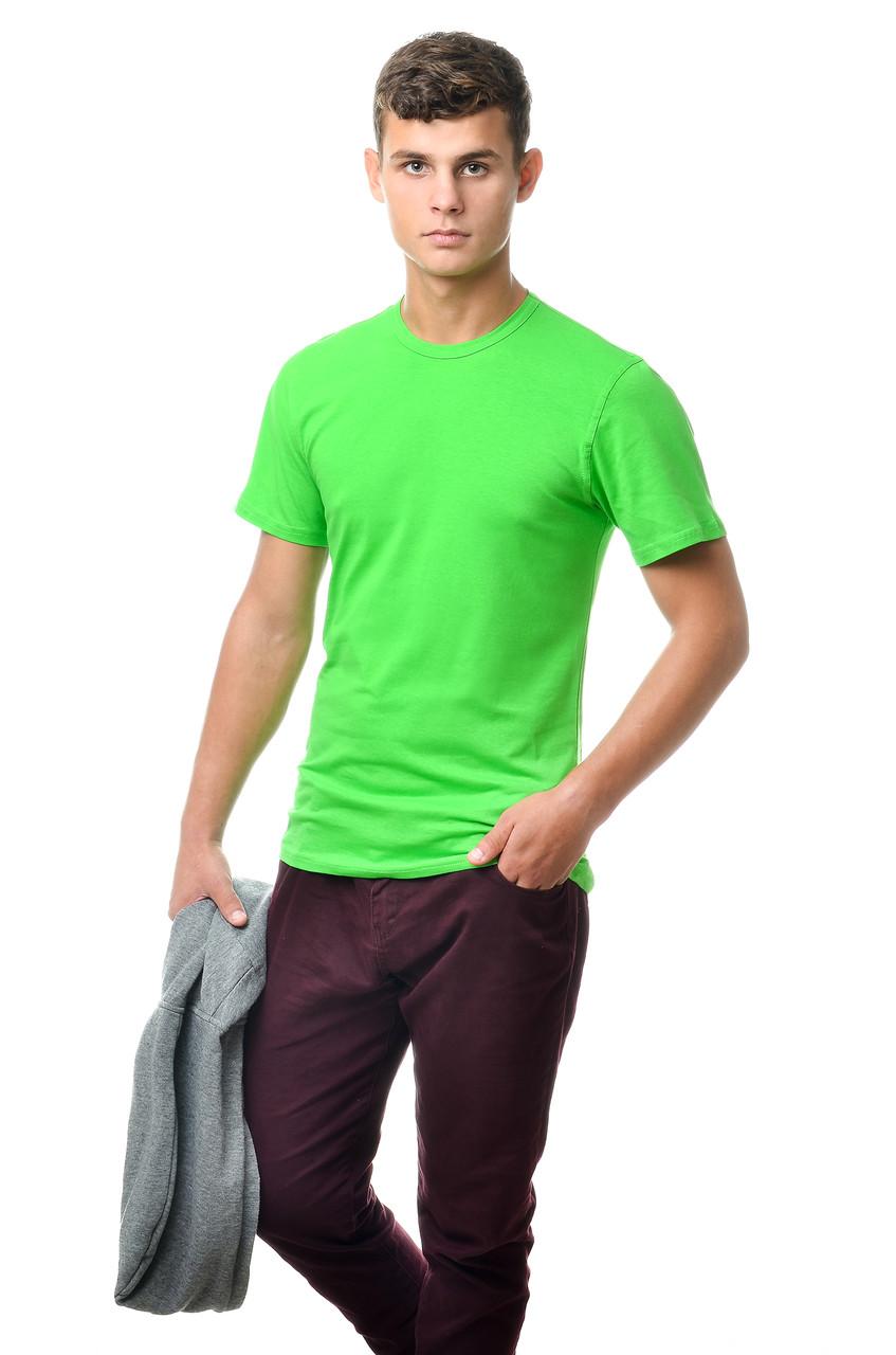 Хлопковая футболка мужская приталенная однотонная зеленая салатовая
